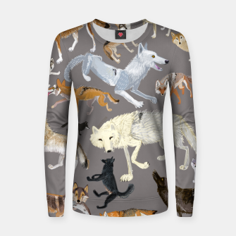 Imagen en miniatura de Wolves of the world grey pattern Sudadera para mujeres, Live Heroes