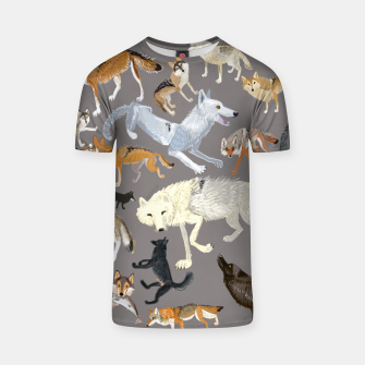 Imagen en miniatura de Wolves of the world grey pattern Camiseta, Live Heroes