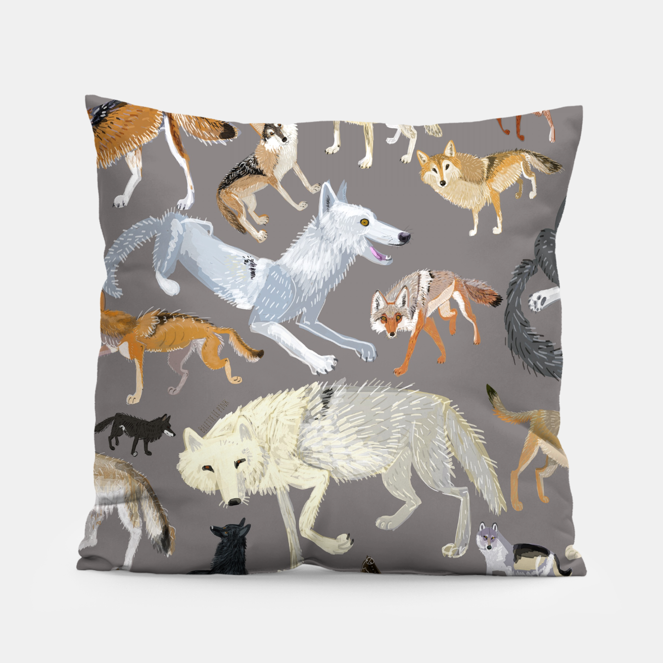 Imagen de Wolves of the world grey pattern Almohada - Live Heroes
