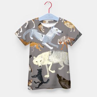 Imagen en miniatura de Wolves of the world grey pattern Camiseta para niños, Live Heroes