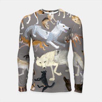 Imagen en miniatura de Wolves of the world grey pattern Longsleeve rashguard, Live Heroes