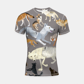 Imagen en miniatura de Wolves of the world grey pattern Shortsleeve rashguard, Live Heroes