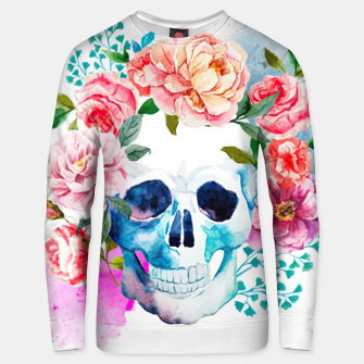 Thumbnail image of skull and flowers Unisex sweater, Live Heroes