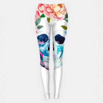 Thumbnail image of skull and flowers Leggings, Live Heroes