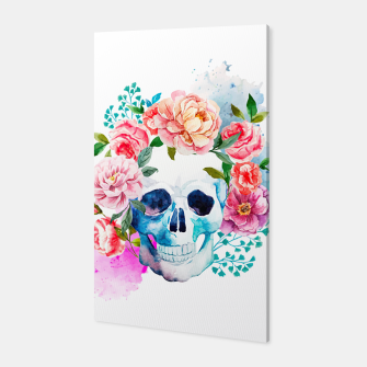 Miniatur skull and flowers Canvas, Live Heroes