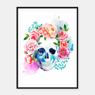 Miniatur skull and flowers Framed poster, Live Heroes