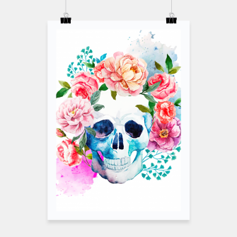 Miniatur skull and flowers Poster, Live Heroes
