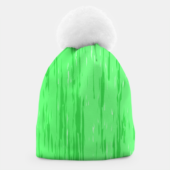 Miniatur Fresh neon green fibers, abstract rainfall, natural colors, forest theme Beanie, Live Heroes