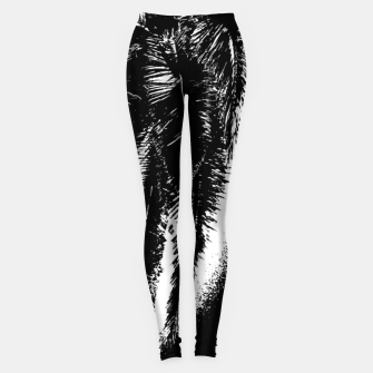 Thumbnail image of Black and White Tropical Moonscape Illustration Leggings, Live Heroes