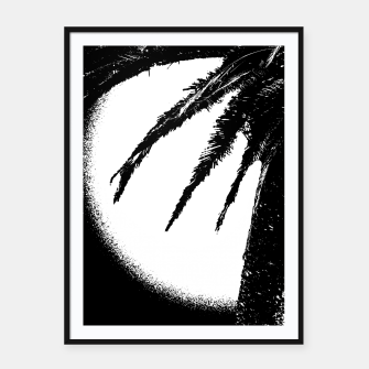 Thumbnail image of Black and White Tropical Moonscape Illustration Framed poster, Live Heroes
