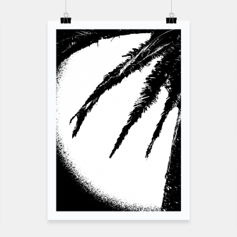 Thumbnail image of Black and White Tropical Moonscape Illustration Poster, Live Heroes