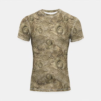 Thumbnail image of Ordovician Fossils Seamless Pattern Shortsleeve rashguard, Live Heroes