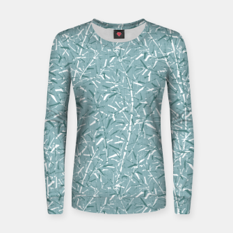 Textured Bamboo Forest in Teal Blue Women sweater miniature
