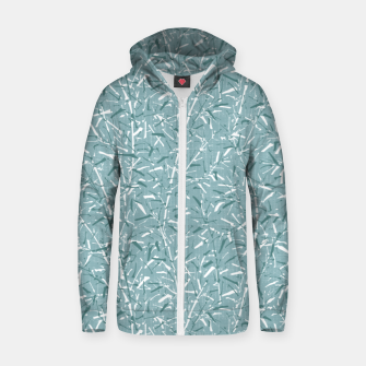 Textured Bamboo Forest in Teal Blue Zip up hoodie miniature