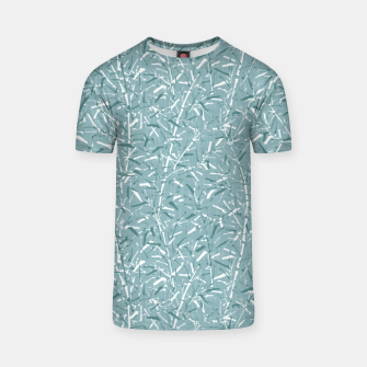 Textured Bamboo Forest in Teal Blue T-shirt miniature
