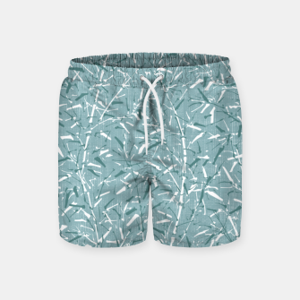 Textured Bamboo Forest in Teal Blue Swim Shorts miniature