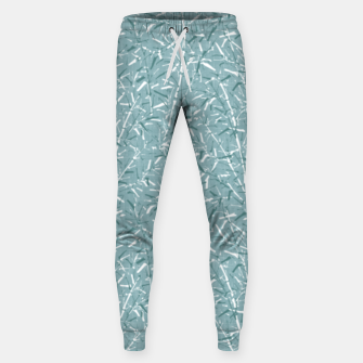 Textured Bamboo Forest in Teal Blue Sweatpants miniature