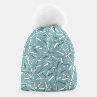 Textured Bamboo Forest in Teal Blue Beanie miniature