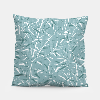 Textured Bamboo Forest in Teal Blue Pillow miniature