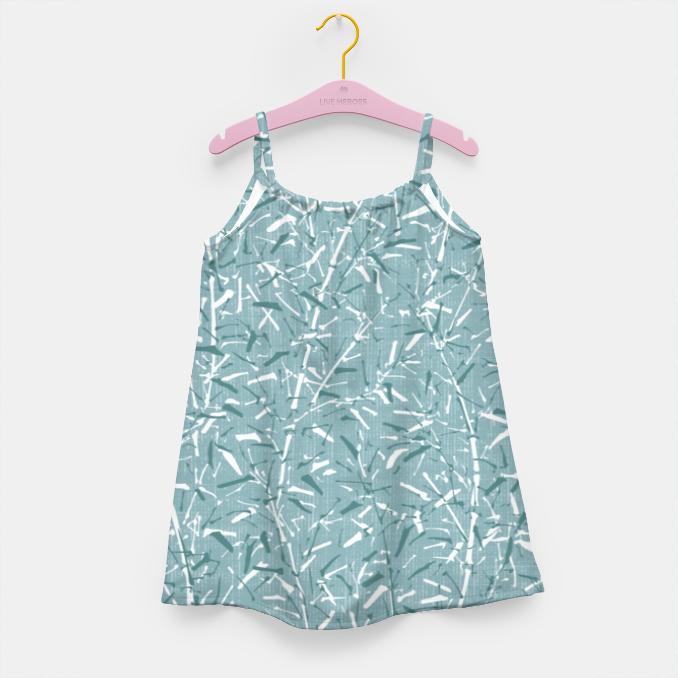 Image de Textured Bamboo Forest in Teal Blue Girl's dress - Live Heroes
