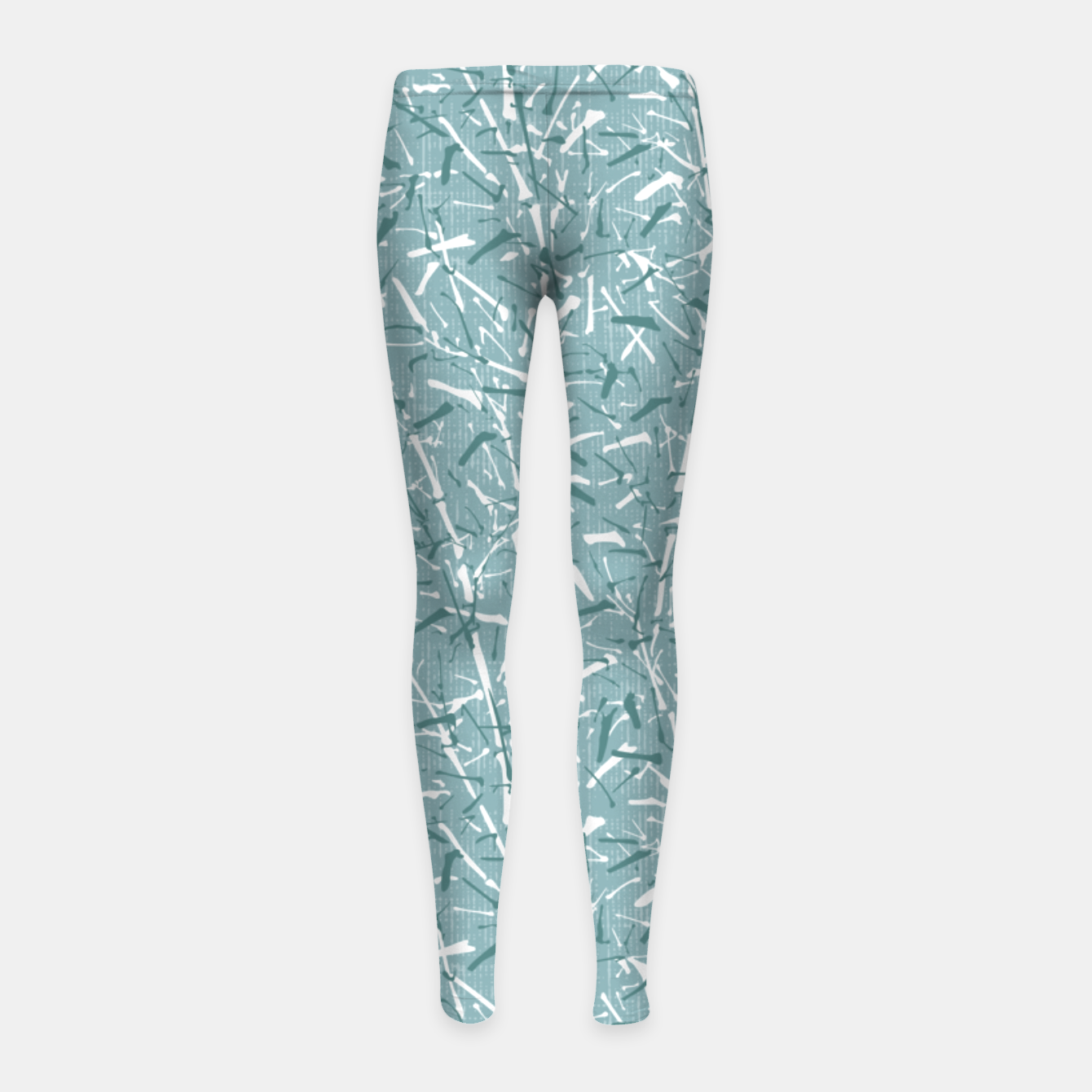Image de Textured Bamboo Forest in Teal Blue Girl's leggings - Live Heroes