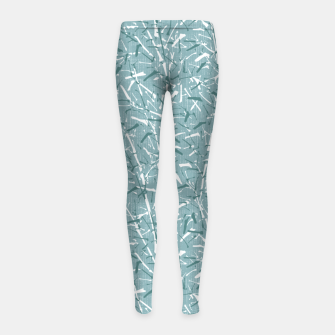 Textured Bamboo Forest in Teal Blue Girl's leggings miniature