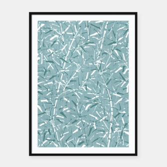 Textured Bamboo Forest in Teal Blue Framed poster miniature