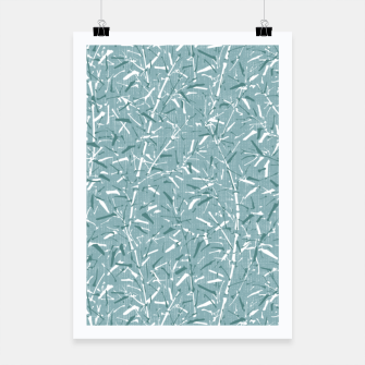 Textured Bamboo Forest in Teal Blue Poster miniature