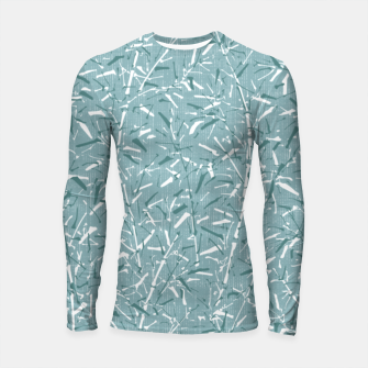 Textured Bamboo Forest in Teal Blue Longsleeve rashguard  miniature