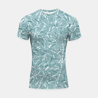 Textured Bamboo Forest in Teal Blue Shortsleeve rashguard miniature