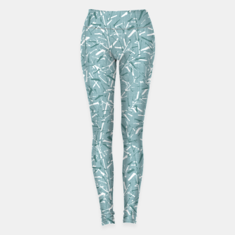 Textured Bamboo Forest in Teal Blue Leggings miniature