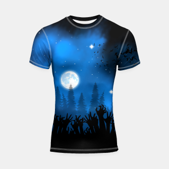 Thumbnail image of Zombies in Forest Shortsleeve rashguard, Live Heroes