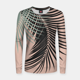 Miniatur Palm Leaves Black Soft Green Pale Terracotta Vibes #1 #tropical #decor #art Frauen sweatshirt, Live Heroes