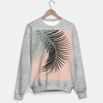 Palm Leaves Black Soft Green Pale Terracotta Vibes #1 #tropical #decor #art Sweatshirt regulär obraz miniatury