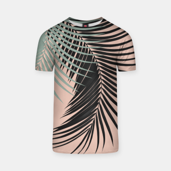 Palm Leaves Black Soft Green Pale Terracotta Vibes #1 #tropical #decor #art T-Shirt obraz miniatury