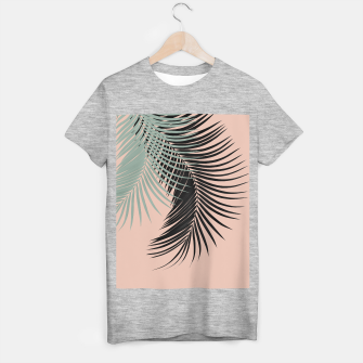 Miniaturka Palm Leaves Black Soft Green Pale Terracotta Vibes #1 #tropical #decor #art T-Shirt regulär, Live Heroes