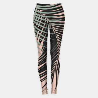 Palm Leaves Black Soft Green Pale Terracotta Vibes #1 #tropical #decor #art Leggings obraz miniatury