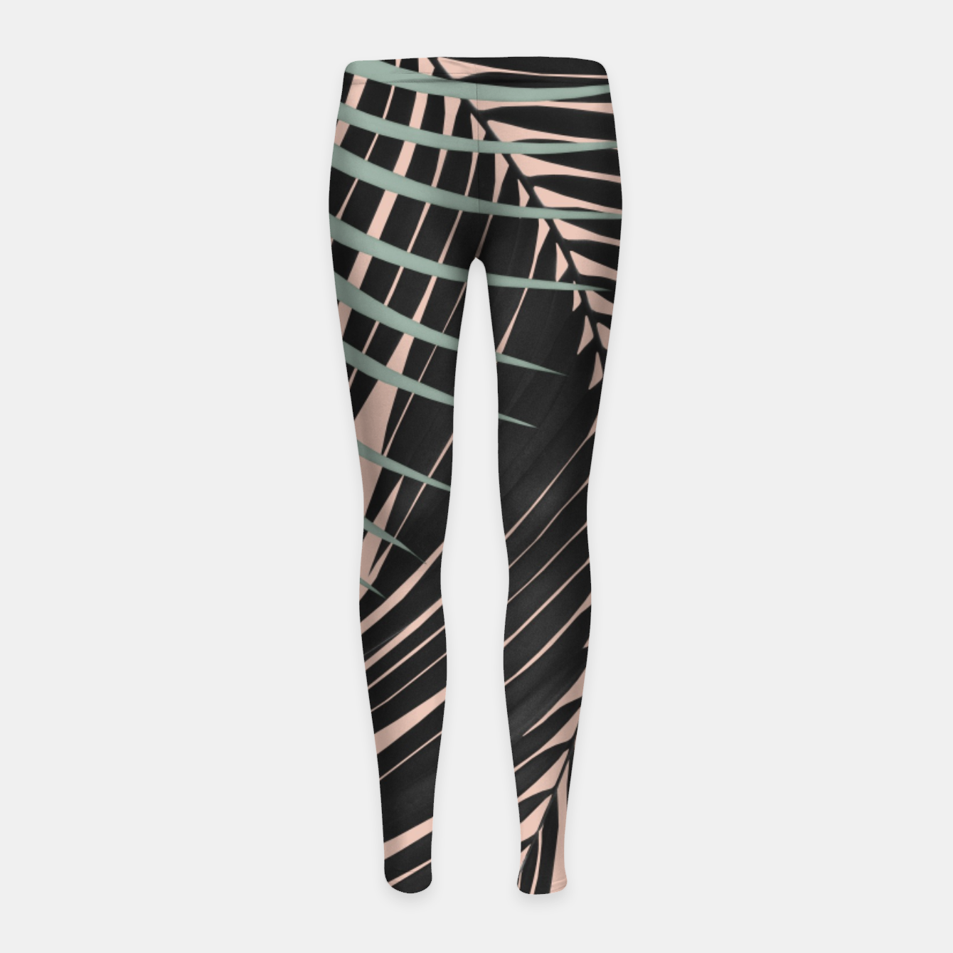 Zdjęcie Palm Leaves Black Soft Green Pale Terracotta Vibes #1 #tropical #decor #art Kinder-Leggins - Live Heroes