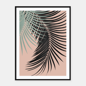 Palm Leaves Black Soft Green Pale Terracotta Vibes #1 #tropical #decor #art Plakat mit rahmen obraz miniatury
