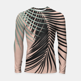 Palm Leaves Black Soft Green Pale Terracotta Vibes #1 #tropical #decor #art Longsleeve rashguard obraz miniatury