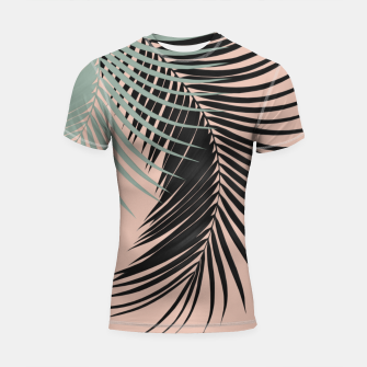 Palm Leaves Black Soft Green Pale Terracotta Vibes #1 #tropical #decor #art Shortsleeve rashguard obraz miniatury