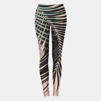 Miniaturka Palm Leaves Black Soft Green Pale Terracotta Vibes #1 #tropical #decor #art Leggings, Live Heroes