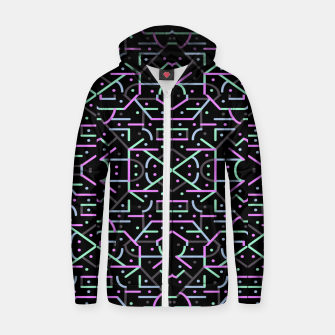 Thumbnail image of Futuristic Linear Geometric Pattern Zip up hoodie, Live Heroes
