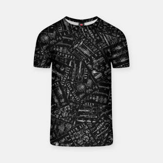 Thumbnail image of Musical Instrument Vintage Patent Pattern T-shirt, Live Heroes