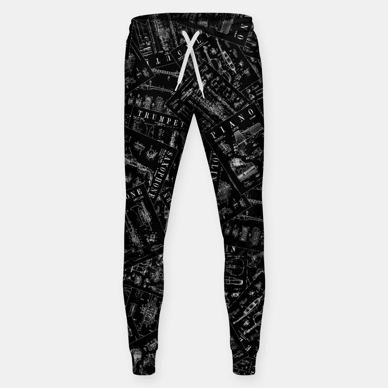 Image of Musical Instrument Vintage Patent Pattern Sweatpants - Live Heroes