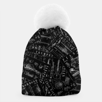Miniatur Musical Instrument Vintage Patent Pattern Beanie, Live Heroes