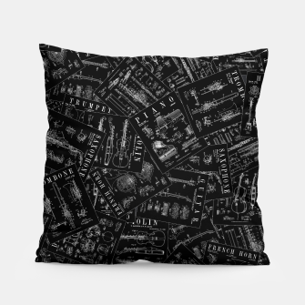 Miniatur Musical Instrument Vintage Patent Pattern Pillow, Live Heroes