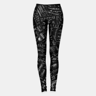 Thumbnail image of Musical Instrument Vintage Patent Pattern Leggings, Live Heroes