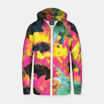 Pink Sunflower Zip up hoodie thumbnail image