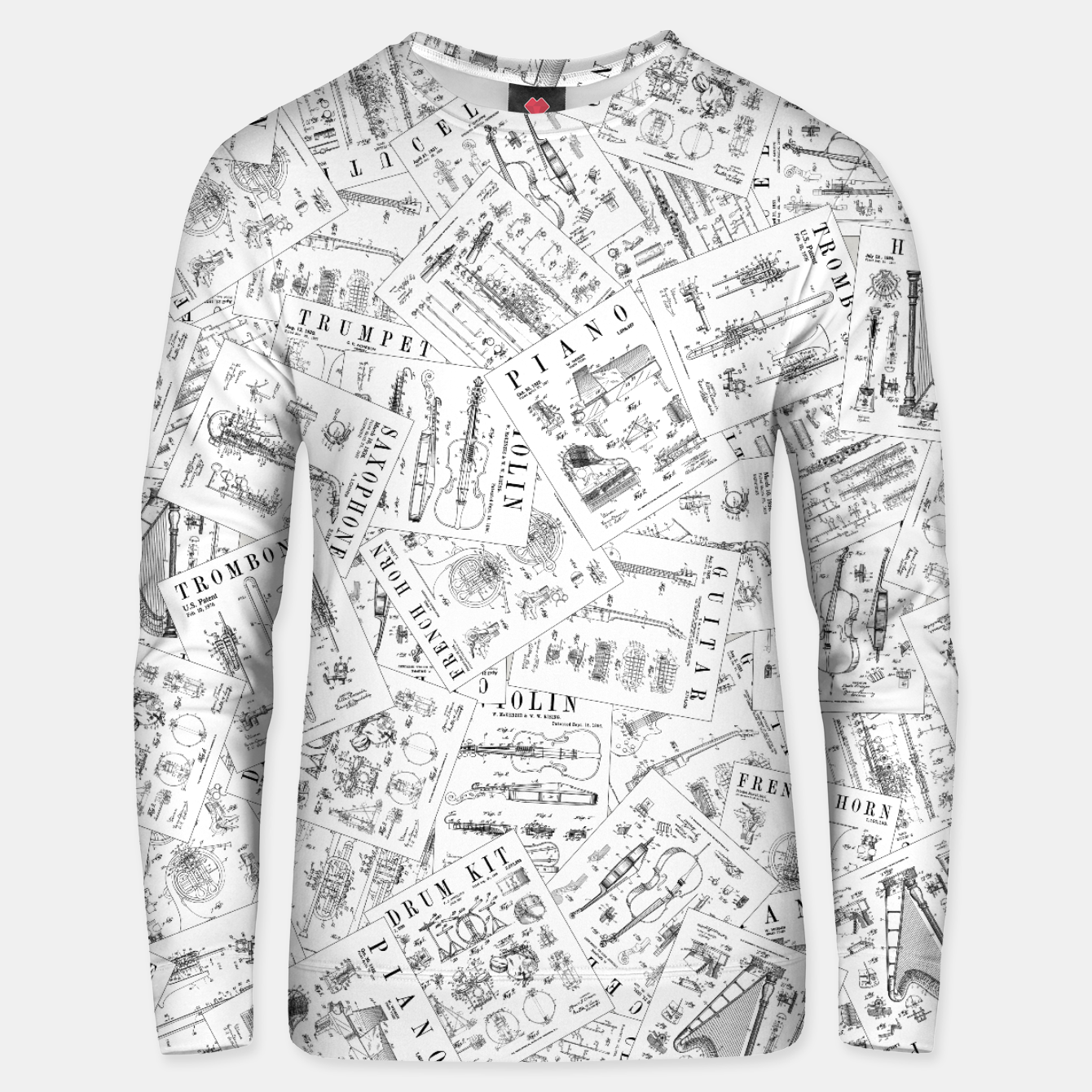 Image of Musical Instrument Vintage Patent Pattern II Unisex sweater - Live Heroes